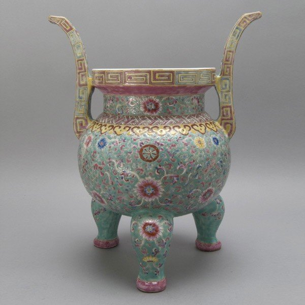 289: A Famille Rose-Enameled Porcelain Censer