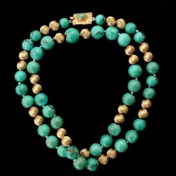 68: TURQUOISE, 14K YELLOW GOLD NECKLACE.