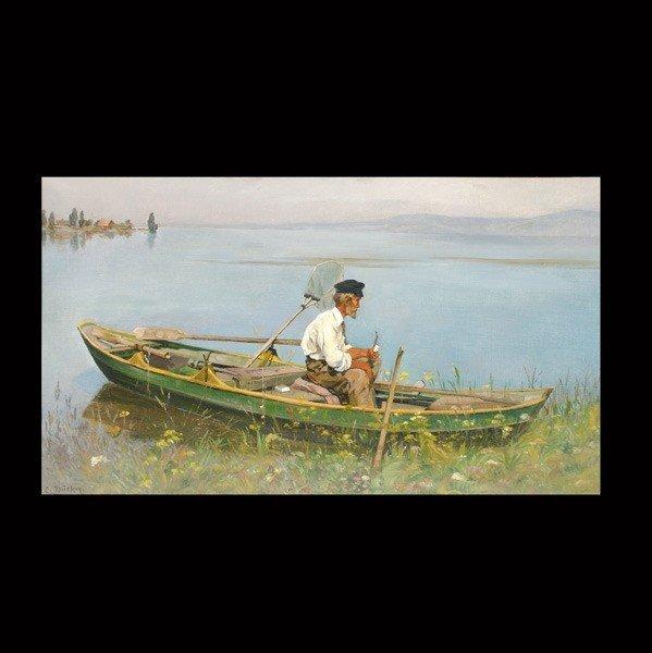 """1001: Eugen Dukker """"Oil Man in Rowboat"""" Oil"""