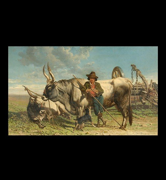 1004: CHARLES COLEMAN, Resting the Oxen, Oil