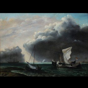 """1006: Dutch School, """"Before the Storm"""" Oil"""