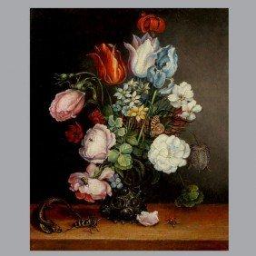 1007: Continental School, Floral Still Life Oil
