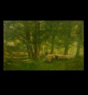"1008: French School ""Shepherd and Flock"" Oil"
