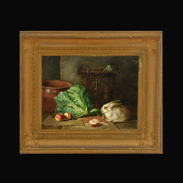 """1009: Walter Hunt """"Still life with Rabbit"""" Oil"""