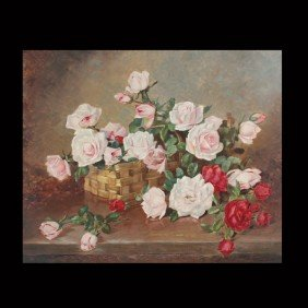 "1011: Achille Lauge ""Basket of Roses"" Oil"