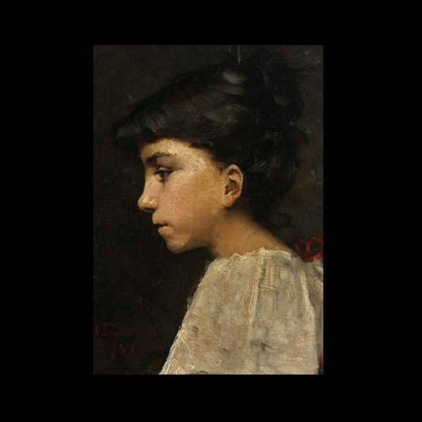 1015: AMELIE LUNDAHL, Portrait of young girl, Oil