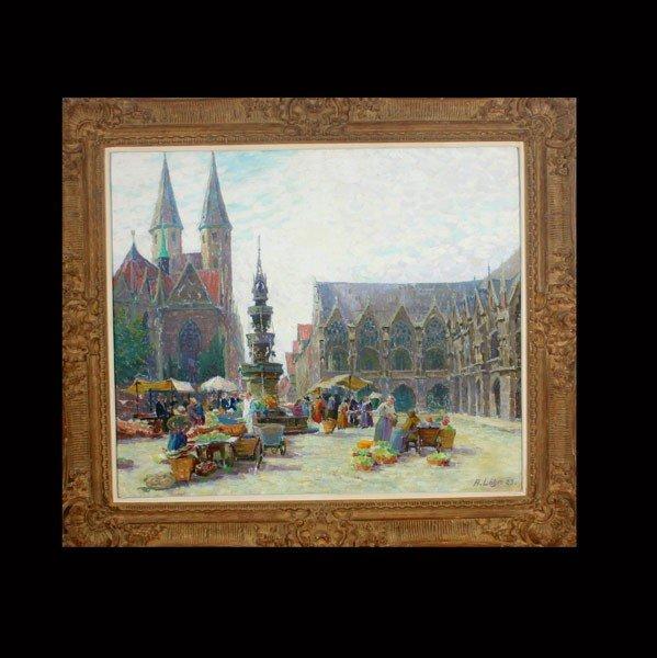 1016: ANNA LOHR, Market Scene, Oil