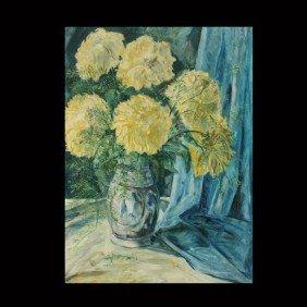 "1018: Constantin Westchiloff ""Floral Still life"" Oil"