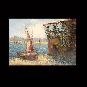 "1020: Georgii Lapshin ""Coast Scene"" Oil"