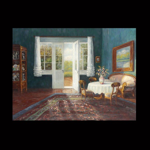 "1022: Stanislav Zhukovsky ""Room Interior"" Oil"
