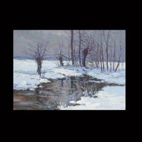 "1023: Constantin Westchiloff ""Winter River"" Oil"