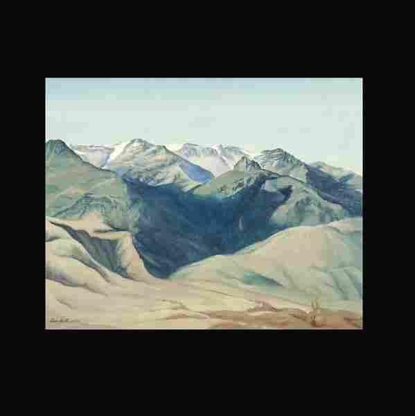 """1076: Dorr Bothwell """"Mt. Landscape"""" Oil 1938"""