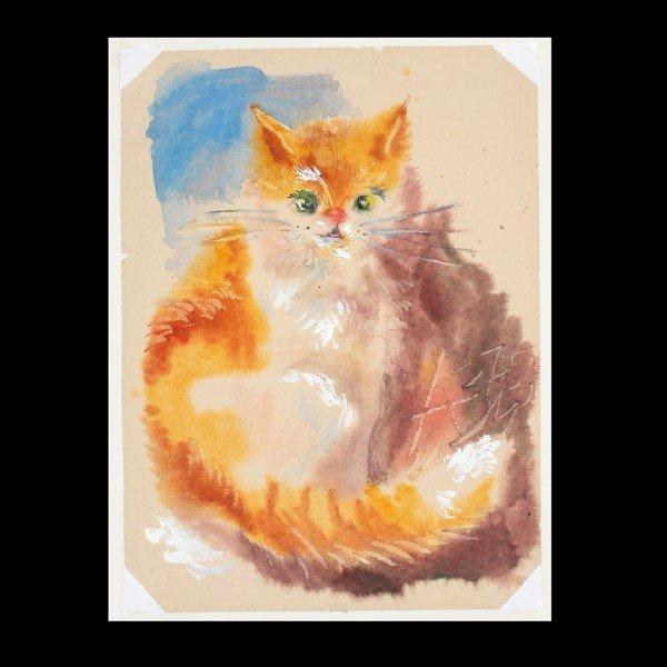 "1120: Anatoly Zverev ""Cat"" Watercolor & Gouache"