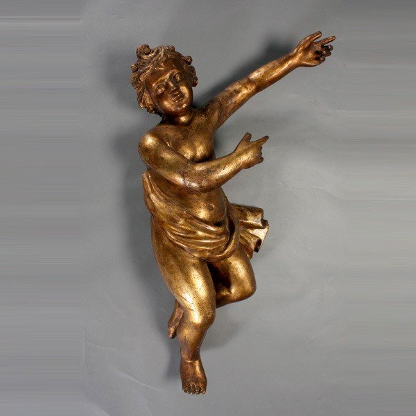1142: Baroque Giltwood Figure of Cupid, from SF Bar