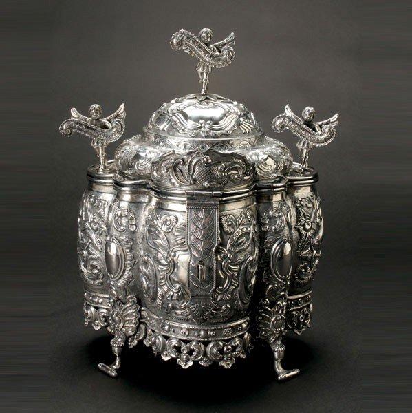 1143: Peruvian Colonial Sterling Coca Leaf Box