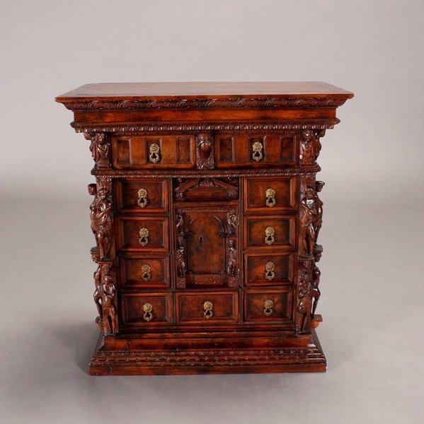 1145: Italian Baroque  Walnut Table Cabinet