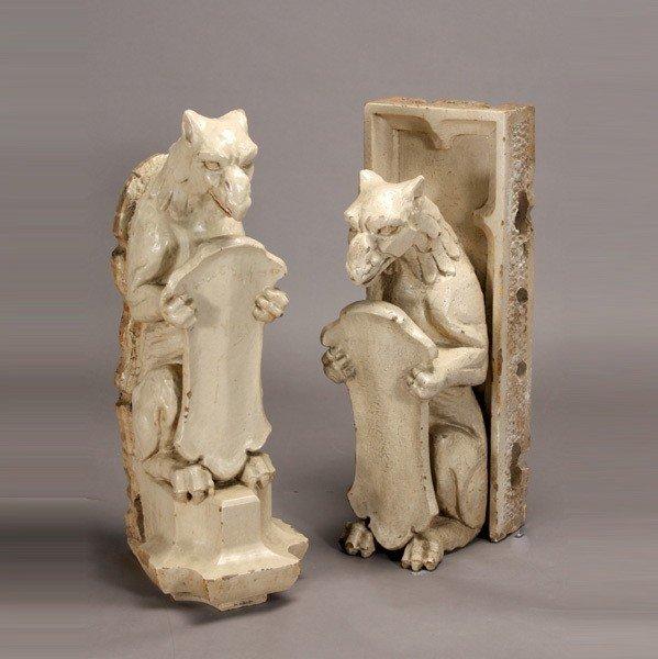 1146: Pair of Renaissance Style Stoneware Griffins