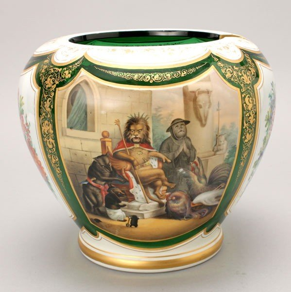1147: Bohemian Gilt Painted Overlay Punch Bowl