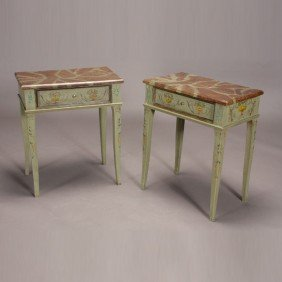 Pr Italian Neoclassical Style Painted Side Tables