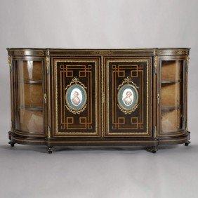 Louis XV Style Gilt Bronze & Porcelain Credenza