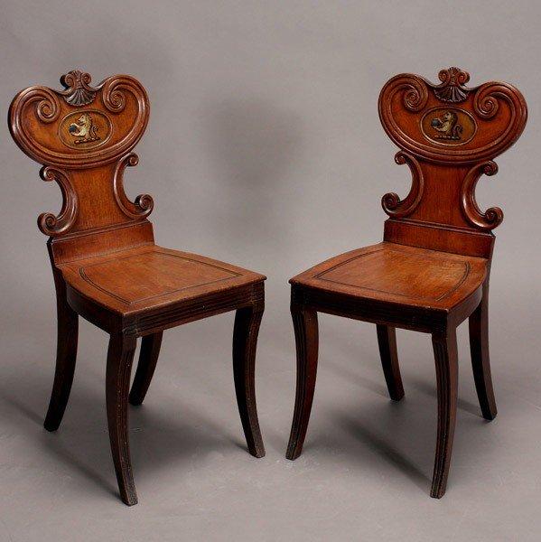 1173: Pair of Regency Mahogany Hall Chairs