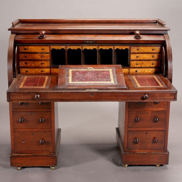 1181: George IV Mahogany Cylinder Desk