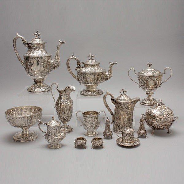 1187: S. Kirk & Sons Coin Silver 14 Piece Tea Service