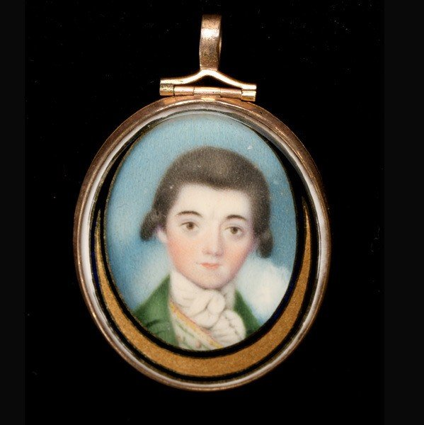 1193: English School Portrait Miniature of a Young Man