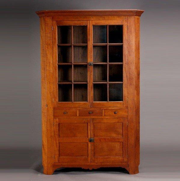 1195: American Tiger Maple Cupboard