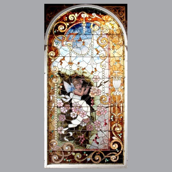 1223A: Aesthetic Movement Stained Glass Window