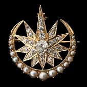 1365 VICTORIAN DIAMOND PEARL 14K YG PENDANTBROOCH