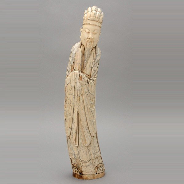 6005: A Large Carved Ivory Figure*, Late Qing