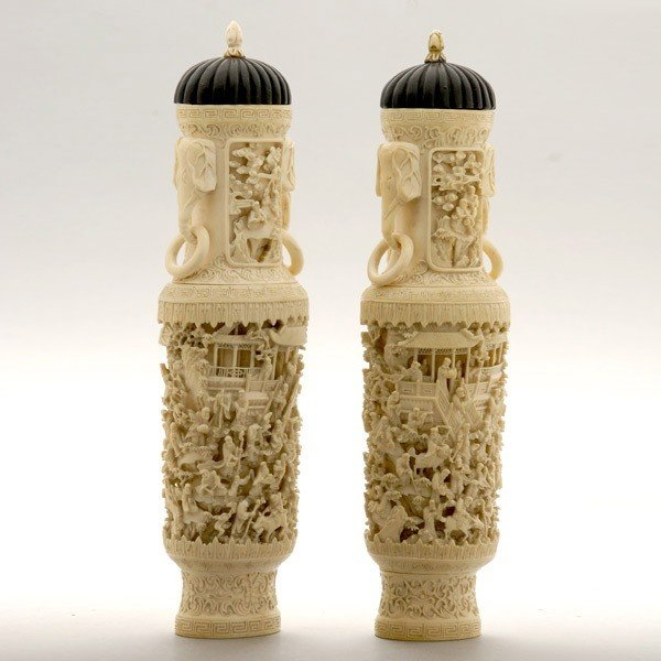 6016: Two Carved Ivory Covered Vases*, Late Qing