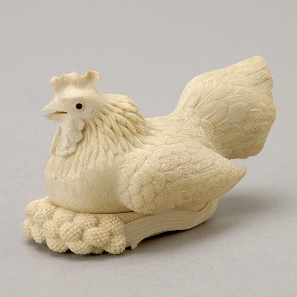 6018: An Ivory 'Rooster' Box and Cover*