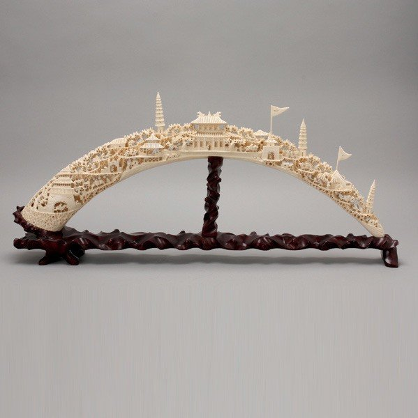 6023: A Large Ivory Tusk Carved with Landscape*