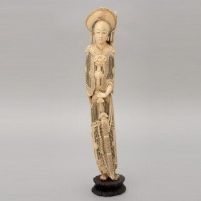 An Ivory Carving Of Mulan*, 19th C