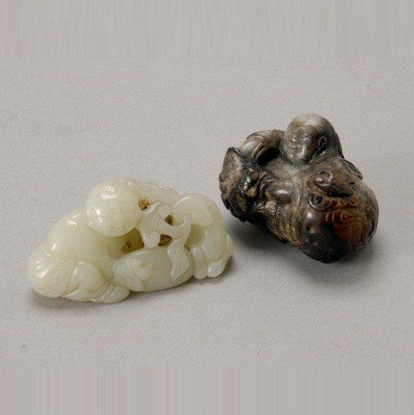 6061: Two Jade Figural Carvings