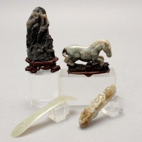 Four Jade And Hardstone Carvings