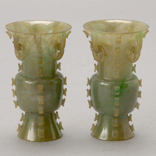 6085: A Pair of Jadeite Archaistic-Form Vases