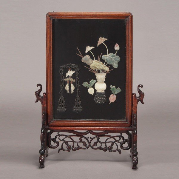 6095: A Table Screen with Stone Inlay, 19th Century