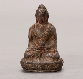 Lacquered Figure Of The Buddha, 10th C. Or Later