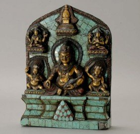 A Lacquered And Turquoise Tile-Decorated Shrine