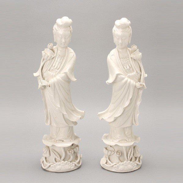 6196: A Pair of Dehua Guanyin Figures