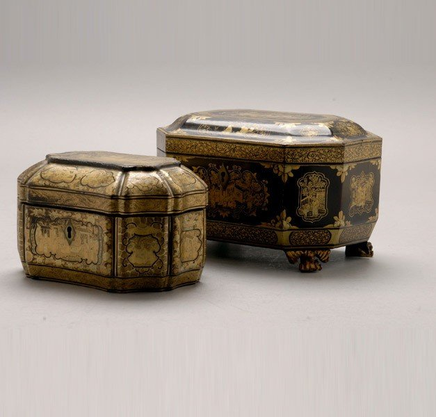 6373: Two Black & Gilt Lacquered Tea Caddy Boxes*