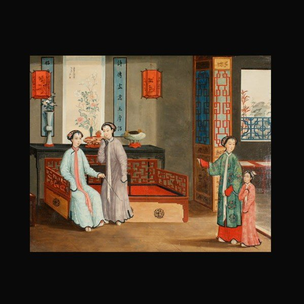 6402: Chinese School: Figures in an Interior Setting