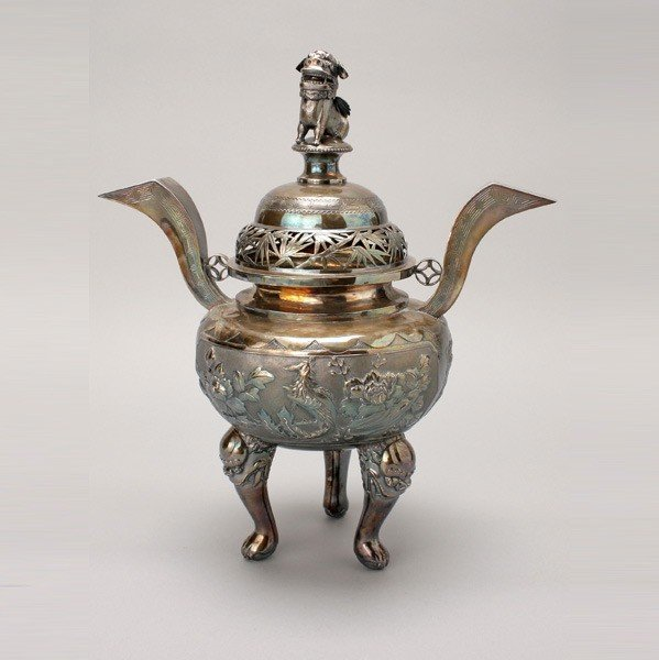 6435: A Japanese Silver Censer, Manchukuo (1932-1945)