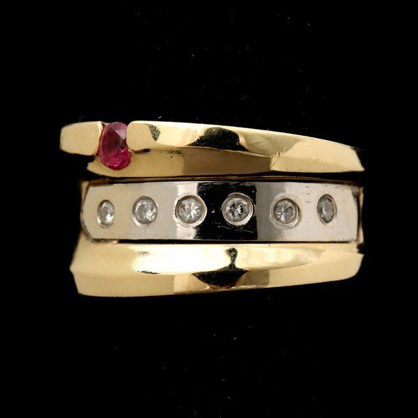 33: RUBY, DIAMOND, 14K WHITE GOLD RING.
