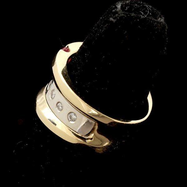 33: RUBY, DIAMOND, 14K WHITE GOLD RING. - 2