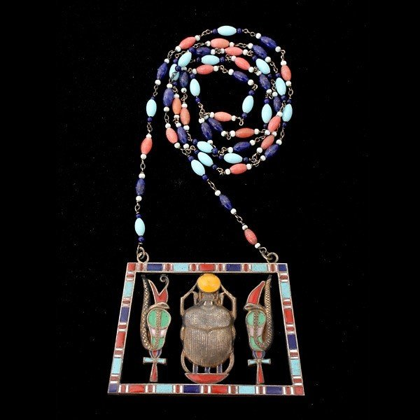 7: ENAMEL, GLASS, SILVER EGYPTIAN REVIVAL NECKLACE.