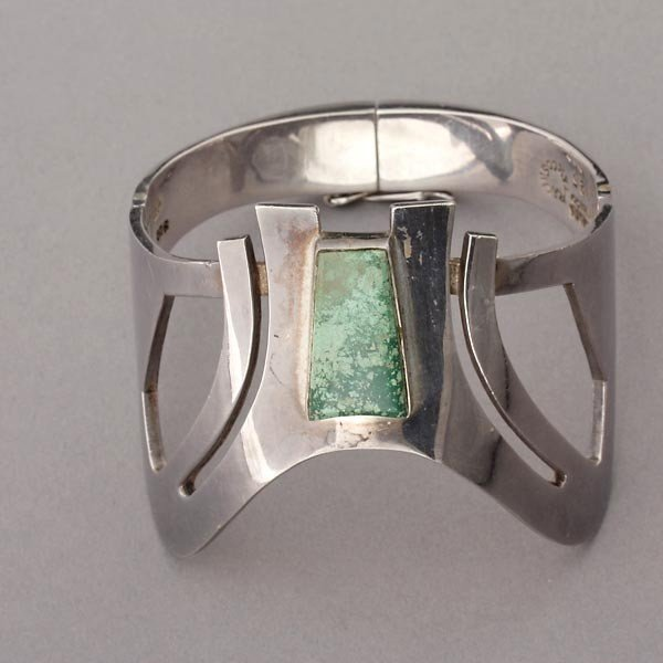 12: 2 JASPER TURQUOISE STERLING SILVER JEWELRY ITEMS. - 3